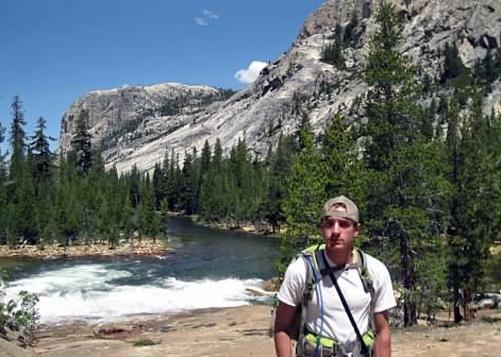 Andrew on the trail to Waterwheel Falls  in Glen Aulin, Yosemite.  June 2013